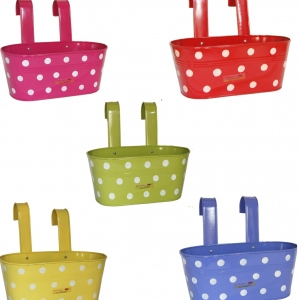 BUYERWELL Oval Railing Hook Planter with Polka Dots (Length 12 INCH X Breadth 6 INCH X Height 5 INCH)